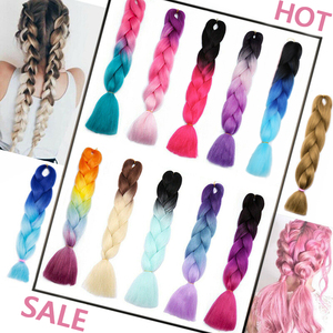 BlackStar hair Jumbo Braiding Hair Ombre Extension 24inch 100g/pc Synthetic Hair Twist Braiding Hair Crochet Hair hair Extension(China)