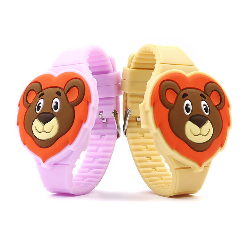 Cartoon Children Watches Kids Cute Cartoon Lion Electronic Watch Boys And Girls Silicone Strap Wrist Watches Toy Gifts C131