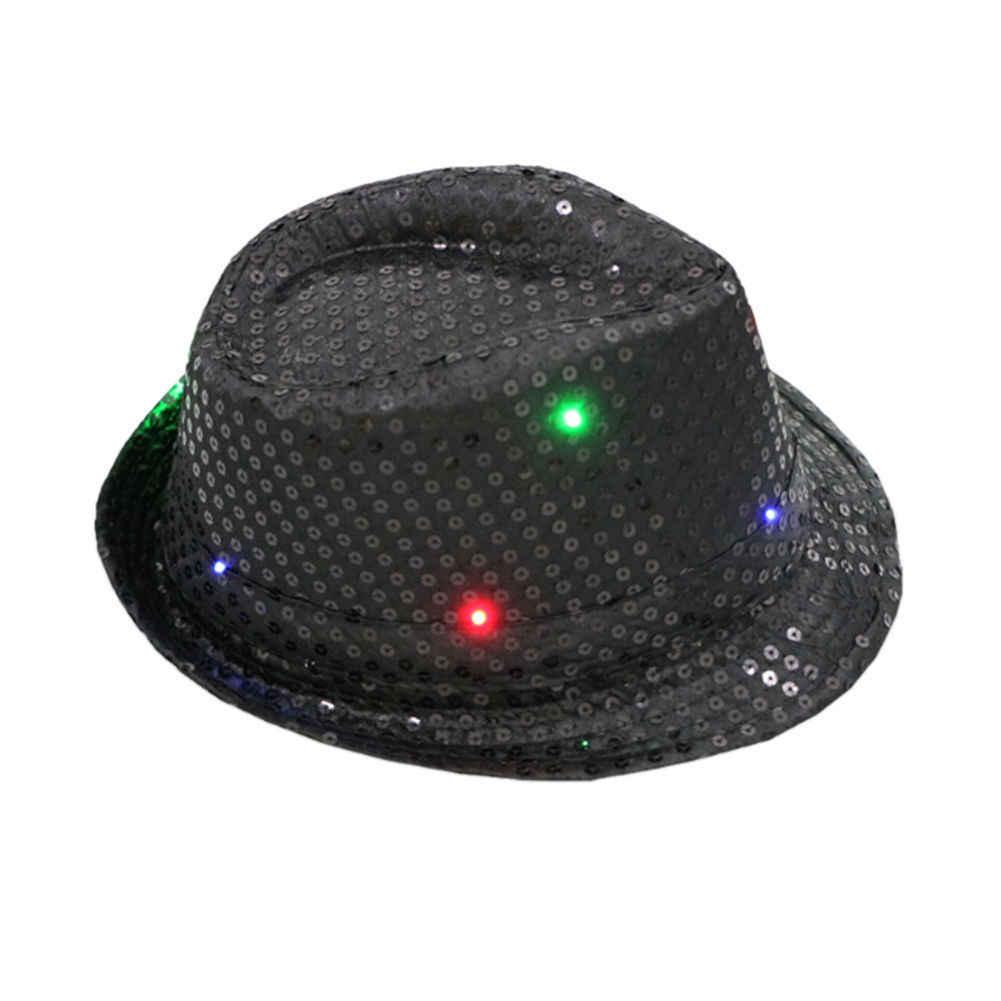 新ファッション男性女性グリッタースパンコール点滅ライトアップ LED Fedora フェルト帽キャップダンスジャズ帽子ギャングパーティー衣装