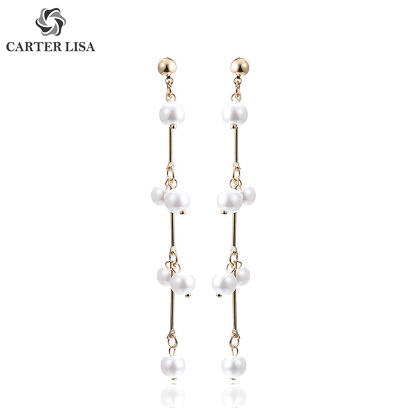 CARTER LISA Fashion Jewelry Elegant Gold Cute Pearl Strand Drop Dangle Earrings Best Gift For Women Girl Kolczyki Oorbellen