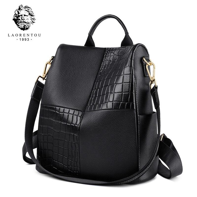 LAORENTOU Brand Genuine Cow Leather Women Backpack Large Capacity  Soft School Bag For Teenage Lady StylishTraveling Backpack
