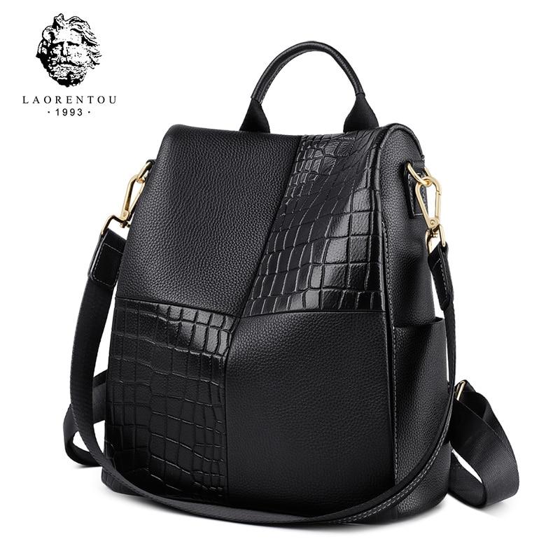 LAORENTOU marque véritable cuir de vache femmes sac à dos grande capacité sac d'école souple pour adolescente dame stylishtravel sac à dos
