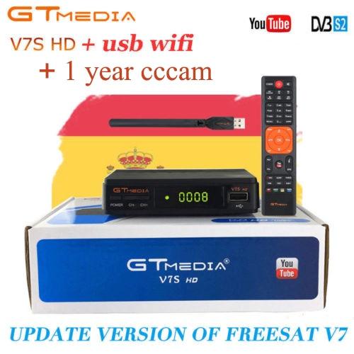 GTMEDIA V7S HD DVB-S2 Satellite Receiver  1 Year Europe CCCam Server 1pc USB WIFI antenna Receptor 1080P HD TV Tuner Set Top Box