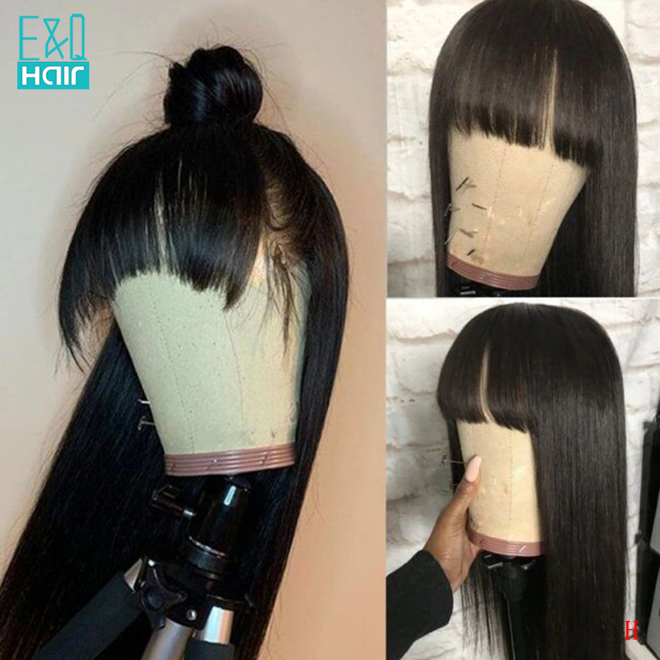 150% Silky Straight 360 Lace Frontal Human Hair Wigs With Bangs For Black Women Brazilian Remy Wig Pre Plucked Natural Color