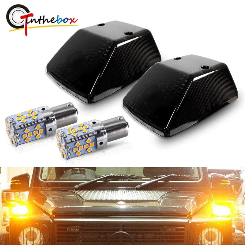 Couvertures noires de clignotant w/ PY21W BAU15S Canbus ambre ampoule LED pour 1986-2018 Mercedes Benz W463 g-class G500 G550 G55 G63