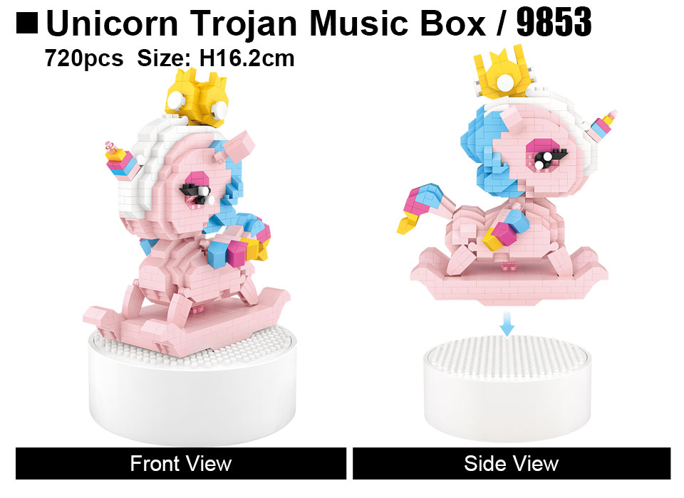 LOZ 9853 Unicorn Trojan Music Box Mini Bricks