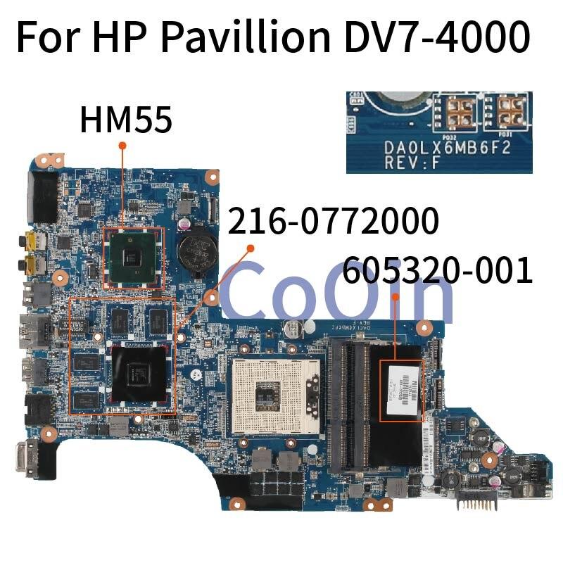 Motherboard para hp Laptop Pavilion Dv7-4000 Hd5650m Mainboard Da0lx6mb6f2 Da0lx6mb6h1 Hm55 Ddr3 605320-001 605320-501 Dv7t