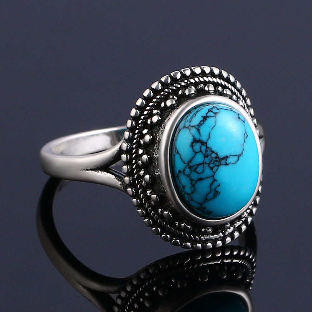 925 Sterling Silver Rings Natural Turquoise Gemstone Rings for Women Wedding Bands Anniversary Gift Fine Jewelry