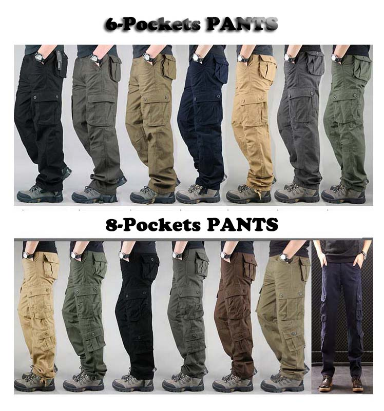 FALIZA Men's Cargo Pants Multi Pockets Military Style Tactical Pants Cotton Men's Outwear Straight Casual Trousers for Men CK102 24