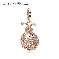 ATHENAIE Trendy 925 Sterling Silver Clear CZ Lucky Pink Ladybug Pendant Charms fit Bracelet Necklace Rose Gold DIY Jewelry
