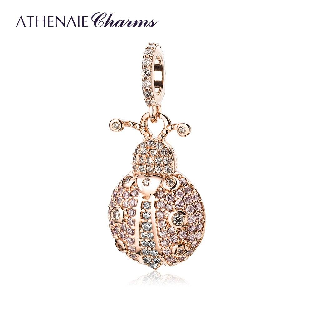 Athenaie na moda 925 prata esterlina claro cz sorte rosa joaninha pingente encantos apto pulseira colar rosa ouro jóias diy