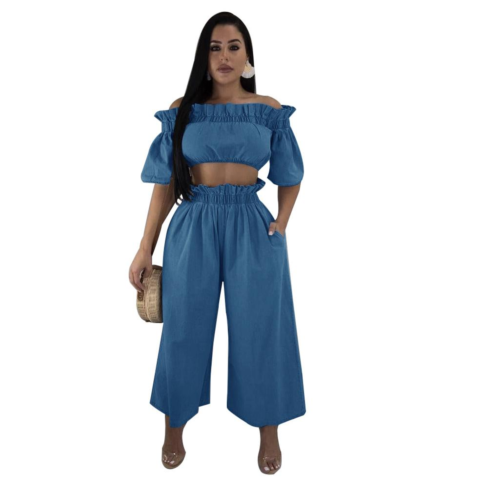 Solid Casual Ruffles Denim Women Sets Elegant Off Shoulder Crop Top Wide Leg Pants Two Piece Set Vintage Patchwork Women Outfit