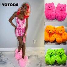 Plush Teddy Bear Slippers Women Home Cotton Slippers Cute Cartoon Teddy Bear Slides Warm Soft Flat Shoes Ladies House Flip Flops