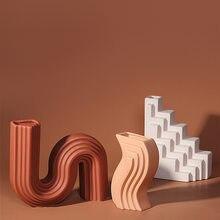Nowoczesne wazony geometryczne linie styl architektoniczny dekoracje domu osłonka na doniczkę ozdoby Home Decor Nordic wazony ceramiczne