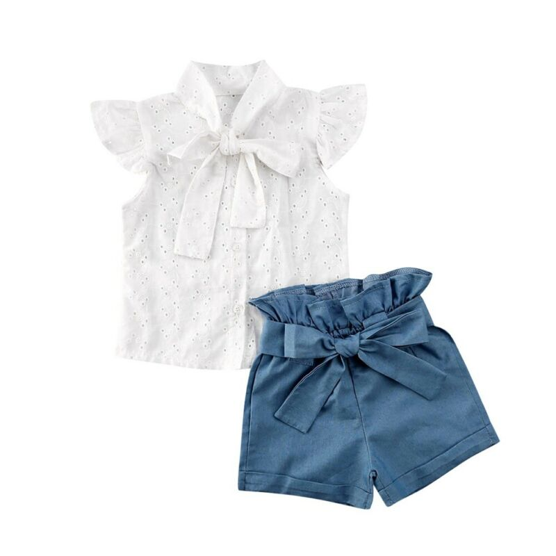 2PCS Set Toddler Kid Baby Girl Lace Bow White Shirt Ruffle Fly Sleeve Top + Bow Denim Shorts Outfits Set Summer Clothes