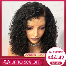 Human-Hair Wigs Short Bob Plucked Bob Curly Lace-Front Glueless Remy Black Women Brazilian