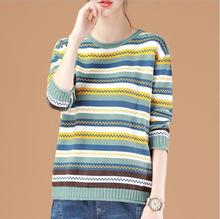 Winter Women O-neck Sweaters 2019 New Fashion Pullovers Lady Loose Knitted Warm Color Stripe