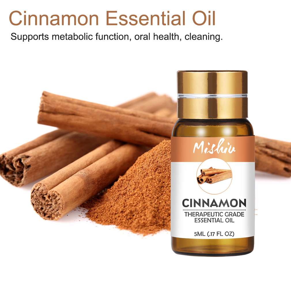 Mishiu 5ML Cinnamon Essential Oil Supports Metabolic Function,Oral Health,Water-soluble Essential Oil Flower Fruit Essential Oil