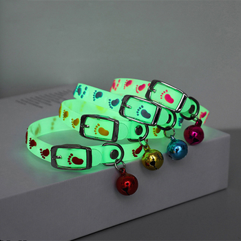 Dogs & Cats Collar with Glowing Bells Glow At Night Cat Collar Necklace Pet Chain Light Luminous Dog Neck Ring Pet Accessories image