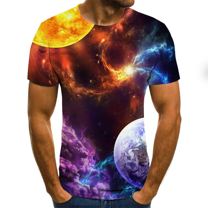 3D Print Starry Sky T Shirt Men Summer Casual Short Sleeve Tops Tees O-Neck Tshirt Fashion Streetwear T-shirt Men Clothes