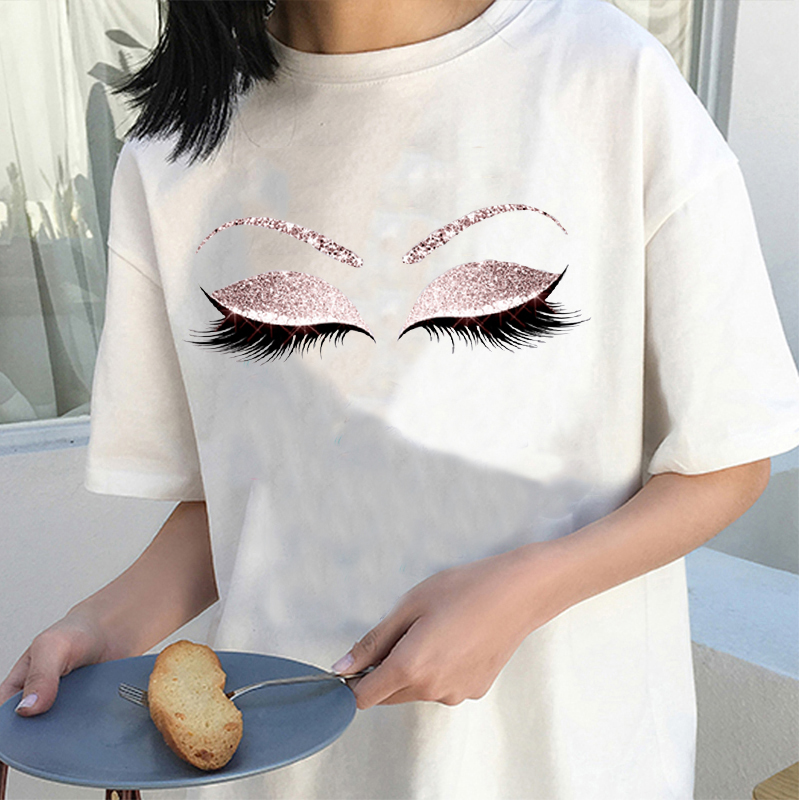 Женские рубашки в стиле Харадзюку, женская футболка с принтом розовых ресниц, летняя модная футболка принцессы, топы для макияжа, уличная од...