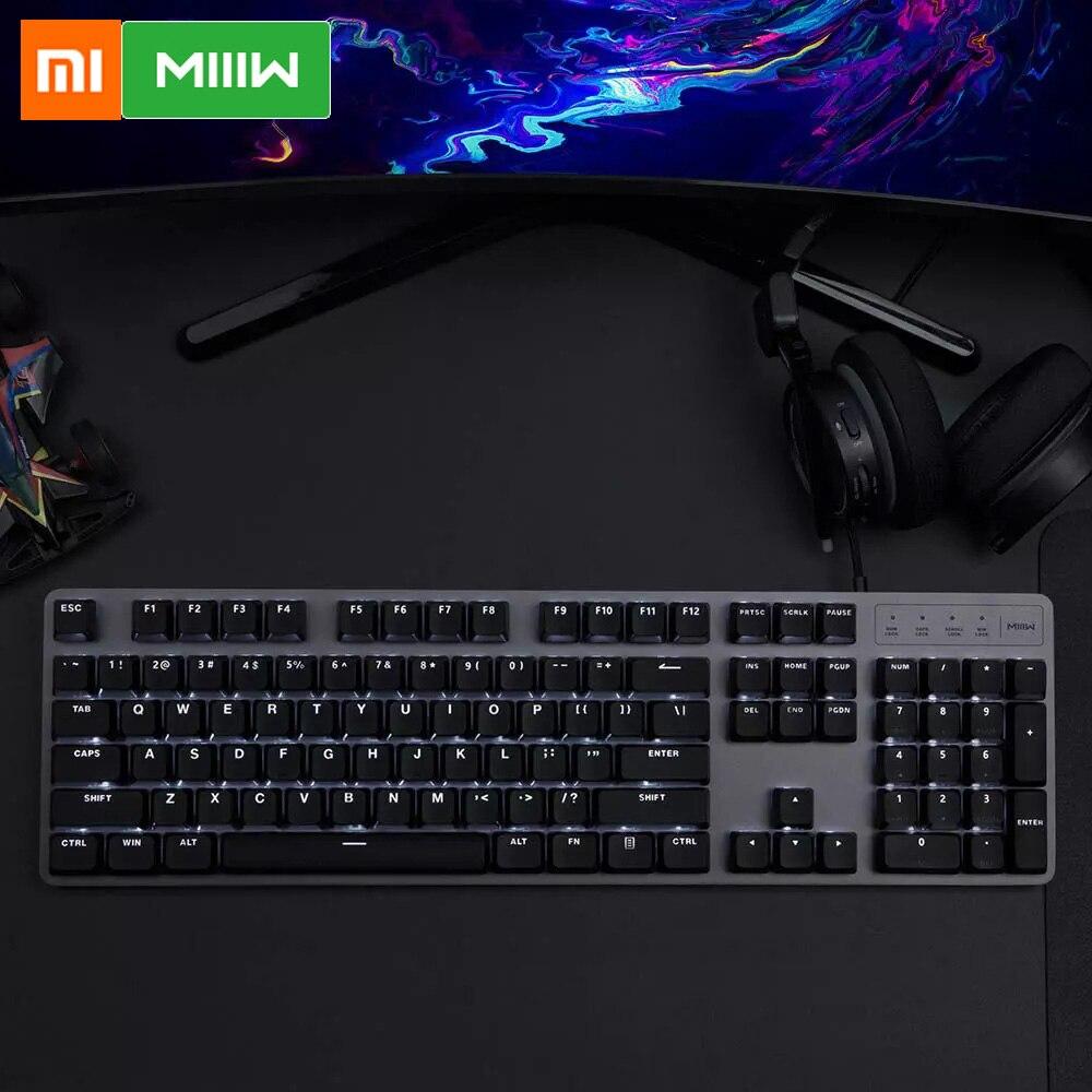 US $41.77 9% СКИДКА|Xiaomi MIIIW 600K механическая клавиатура игровая клавиатура с подсветкой 104Key Kailh красный переключатель USB Проводная клавиатура набор мышь и коврик|Клавиатуры| |  - AliExpress
