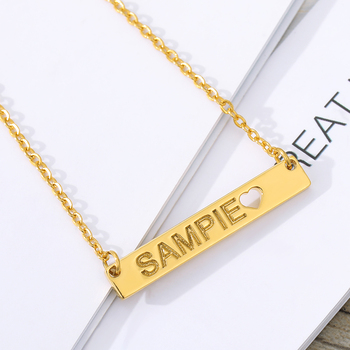 Customized Letter Bar Necklace Engrave Name Date Necklaces Sliver Gold Chain Hollow Heart Pendant For Women Personalized Gift pure 24k yellow gold pendant 3d craved hollow heart bracelet pendant 1g