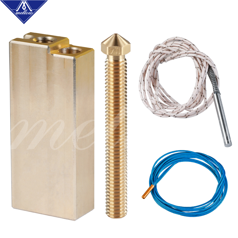 Mellow 80W Heater 12V Or 24V + ATC Semitec 104GT-2 Thermistor + Brass Block For 3D Printer E3D V6 Super Volcano Hotend