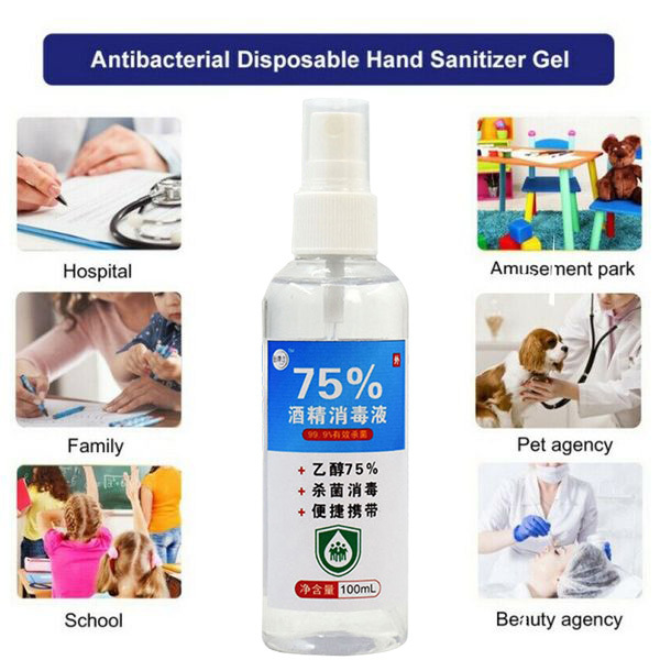 100ml Disinfection Rine-free Hand Sanitizer 75% Alcohol Spray Portable Disposable Prevention Hand Sanitizer 2