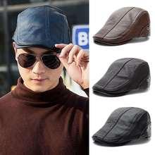 Beret-Caps Painter-Hat Flat-Top-Cap Artist Retro-Style British Men Solid for Thicken
