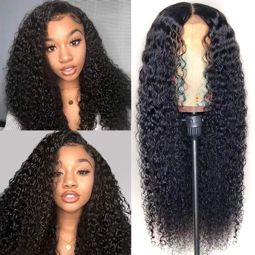 MSH Hair Lace Front Wigs 13x4 Brazilian Curly Human Hair Wigs 150% Density Remy Pre Plucked With Baby Hair For Black Women