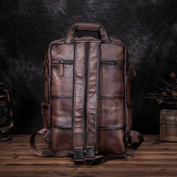 Quality Leather Fashion Travel College School Bag Design Male Heavy Duty Large Backpack Daypack Student Laptop Bag Men 1170-dc