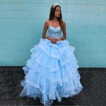 Небесно голубые Бальные платья Женский корсет с бисером стразы