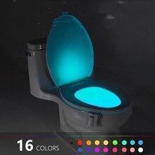 16/8 Color Backlight for Toilet Bowl WC Toilet Seat Lights with Motion Sensor Smart Bathroom Toilet Night Light LED Toilet Light