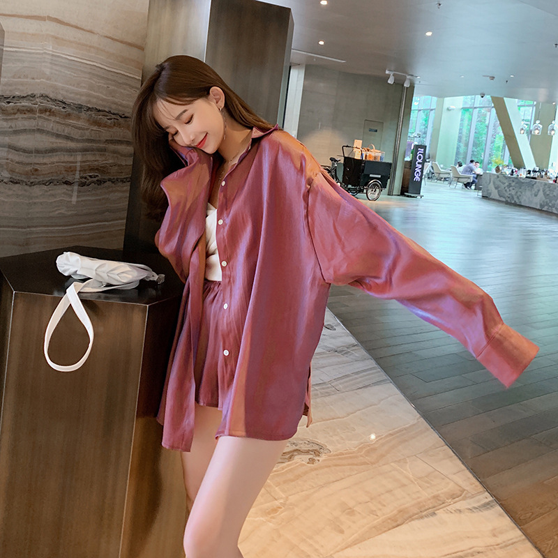 Set Autumn Women's  New Style Korean-style Fashion Wide-Leg Shorts + Casual Long Sleeve Color Changing Shirt Two-Piece Set F
