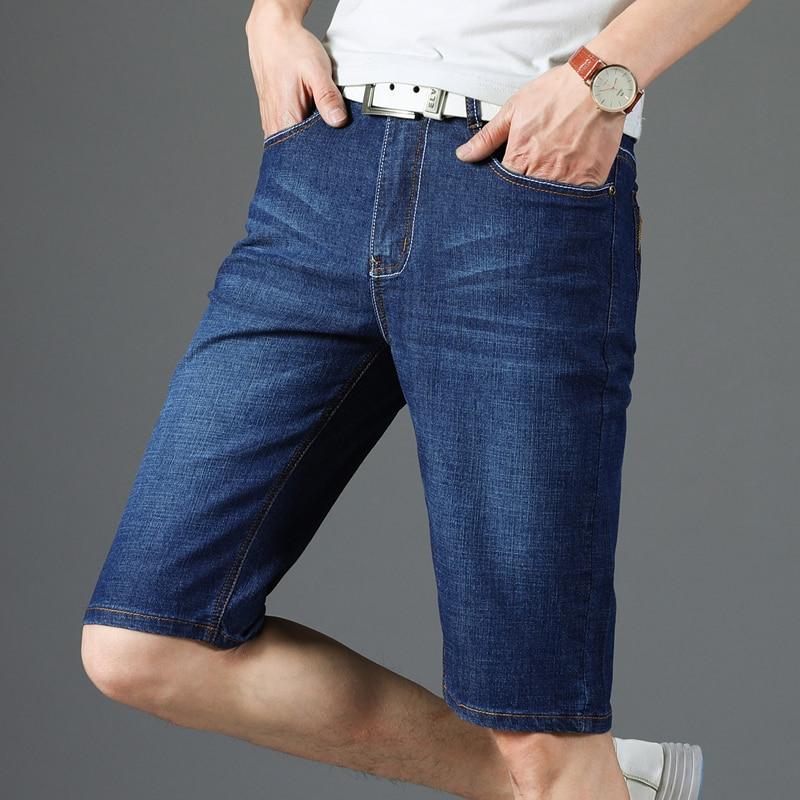 Повседневные мужские шорты, мужские джинсовые шорты, мужские джинсовые узкие брюки, прямые, синие, черные, байкерские, летние, дышащие, модные, Новинка|Шорты|   | АлиЭкспресс