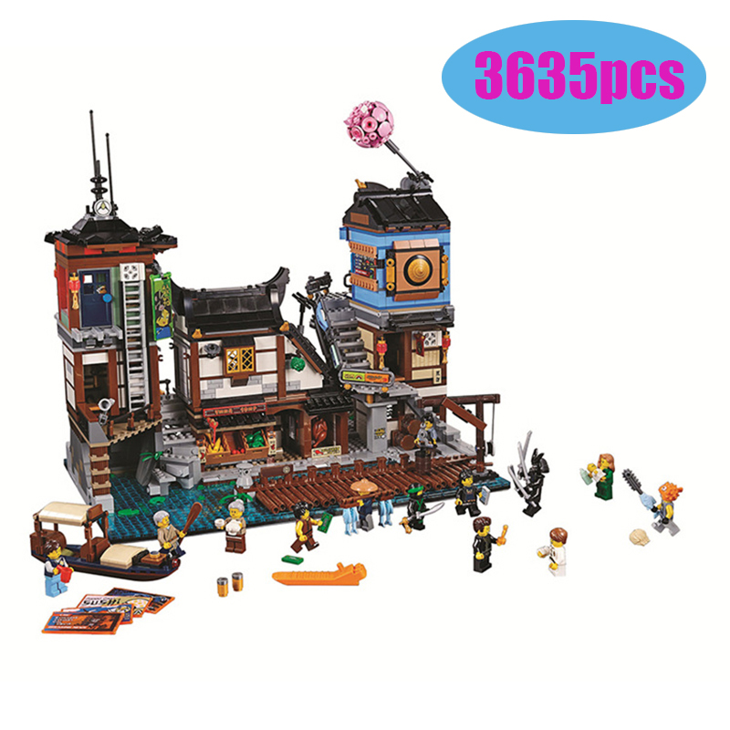 70657 06083 Legoinglys Ninjago City Docks Harbor Boat House Old World Tea Room 10941 Model Building Blocks Toy Bricks Gift