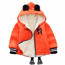 Kurtka dla chłopców dzieci zimowe grube płaszcze maluch aksamitne ciepłe bawełniane bluzy z kapturem płaszcz dzieci codzienna odzież wierzchnia 1-4 Y odzież dla niemowląt tanie tanio KEAIYOUHUO Moda COTTON Z wełny Children warm cotton jacket Pasuje prawda na wymiar weź swój normalny rozmiar Heavyweight