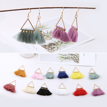6pcs diy handmade jewelry accessories, national wind color triangle pendant tassel pendant earrings material