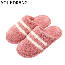 Winter Women Household Slippers Plush Furry Lovers Couple Shoes Floor Warm Home Slipper Indoor Striped Flip Flops Cotton Unisex mntrerm 2018 winter warm indoor slipper for women s at fashion home slippers warm plush household shoes chinelos femininos botas