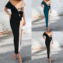Elegant Empire Women Summer Hot Wrap Sexy Lapel Neck Color Block Stitching Ladies Holiday Belted High Waist Glamorous Maxi Dress