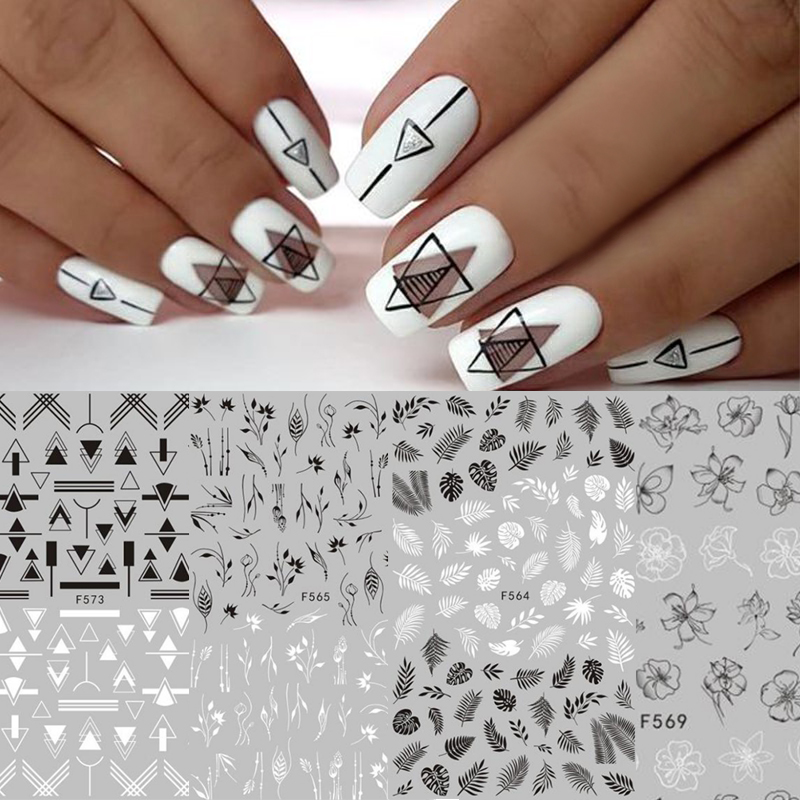 1 Sheet Black White 3D Nail Art Stickers Sticker Flower Leaf Tree Green Simple Summer DIY Slider For 3D Sticker