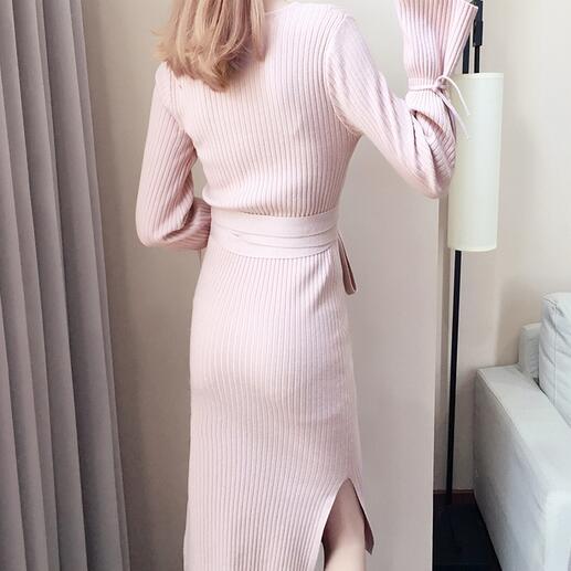 Autumn Winter Women Sweater Dress 2019 New Long-sleeved vestidos largos Pink pullover Medium long Knitted Women Dress DC489 35