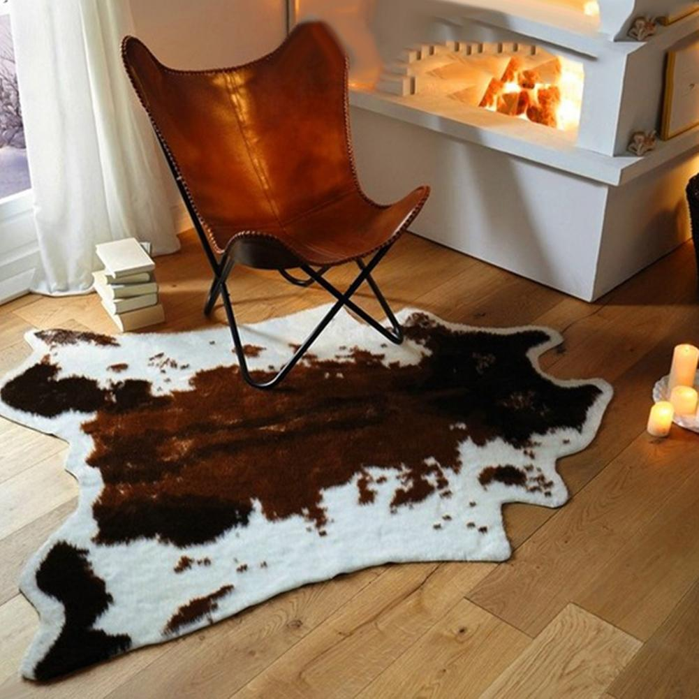 Cute Imitation Cow Print Carpet Throw Rug Floor Mat Chair Cushion Anti-slip Lounge Mat Tapestry Living Room Decor Home Decor