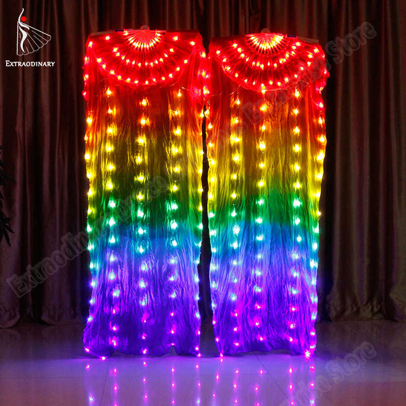 New Belly Dance LED Silk Fan Veil Colorful Stage Props Performance Accessories Light up LED Rainbow Silk Fan Veils