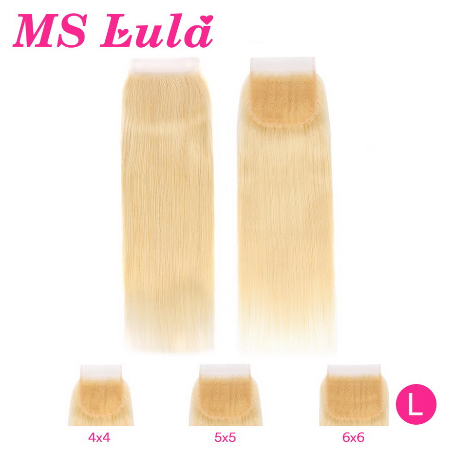 MS Lula <font><b>613</b></font> Blonde <font><b>5x5</b></font> 4x4 6x6 Straight <font><b>Lace</b></font> <font><b>Closure</b></font> Brazilian Remy Human Hair Low Ratio 4x4 1b/<font><b>613</b></font> Ombre <font><b>Lace</b></font> <font><b>Closure</b></font> 8-22Inchs image