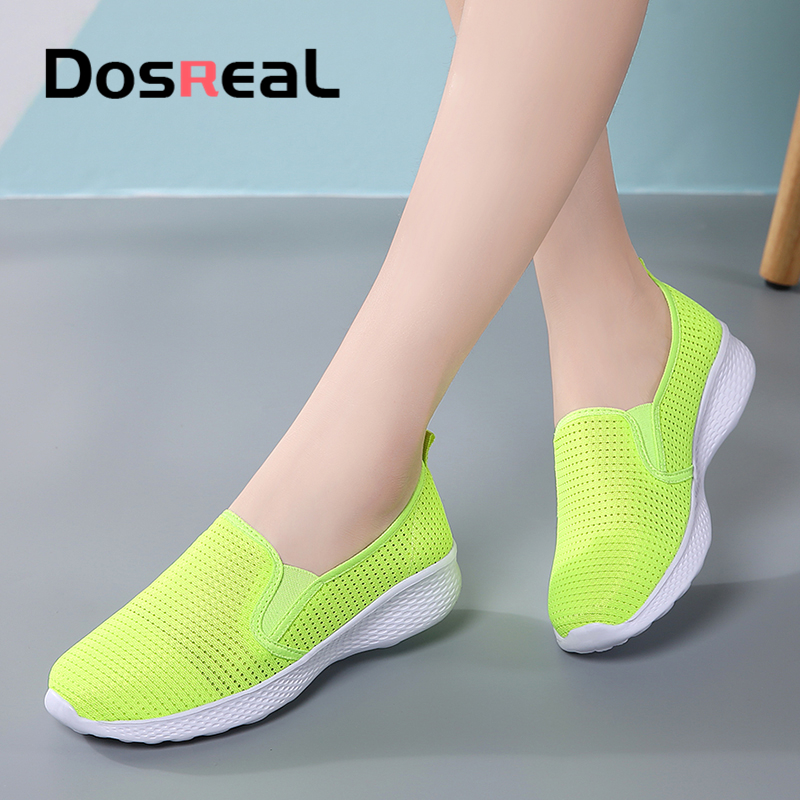 Dosreal Women Flats Shoes Sneakers Summer Breathable Flying Weaving Casual Shoes Woman Slip-on Creepers Moccasins Ladies Shoes