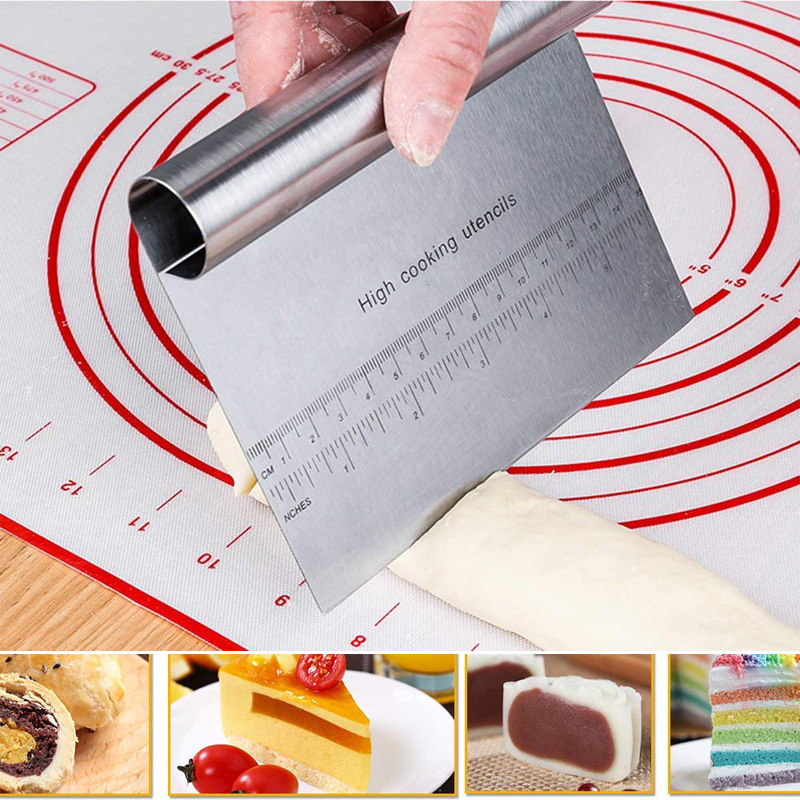 1Pcs Stainless Steel Pizza Dough Scraper Cutter Baking Mat Pastry <font><b>Spatulas</b></font> Fondant <font><b>Cake</b></font> <font><b>Decoration</b></font> <font><b>Tools</b></font> Kitchen Accessories image