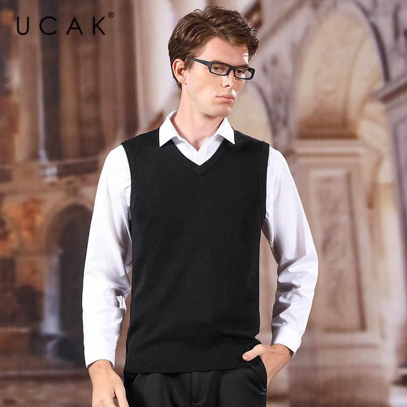 Ucak marca camisola colete 2020 nova chegada sólido com decote em v casual primavera outono pull homme streetwear lã camisola quente roupas u1043