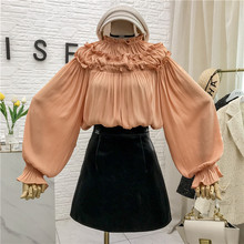 2020 New Vintage Blouse Women Ruffles Solid O-